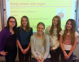 Från vänster: Emilia Tern, Madicken Holmqvist, Amanda Malmström, Vilma Nished, Felicia JoelssonBergman