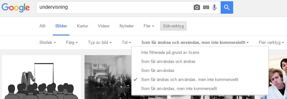 Googlesökning på bilder med olika licenser
